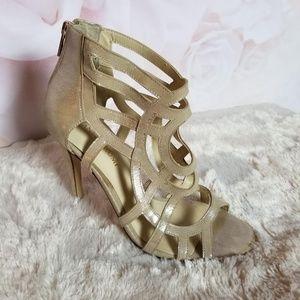 Ivanka Trump Open Toe High Heel Shoes Back Zip